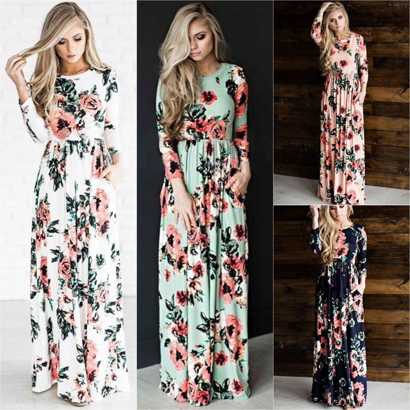 Acquista Boho Womens Retro Floral Long Maxi Dress Manica Lunga Party Casual  Vintage Summer Beach Girocollo Flower Sundress A  12.56 Dal Erinzhang  20901a73814