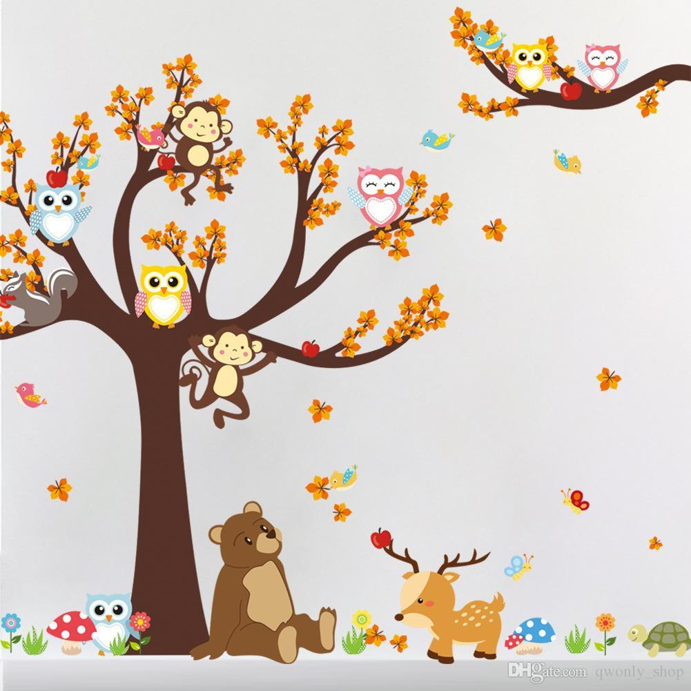 Filial da árvore de Floresta folha Animal Dos Desenhos Animados Coruja Urso Macaco Veados Adesivos de Parede Para Quartos de Crianças Meninos Meninas Crianças Quarto Home Decor