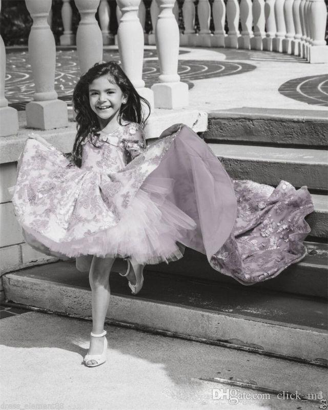 Pembe Yüksek Düşük Uzun Kollu Çiçek Kız Elbise V Boyun Dantel Aplike Ruffles Kızlar Pageant Törenlerinde Çocuk Bir Çizgi Çocuklar Balo Parti Dres