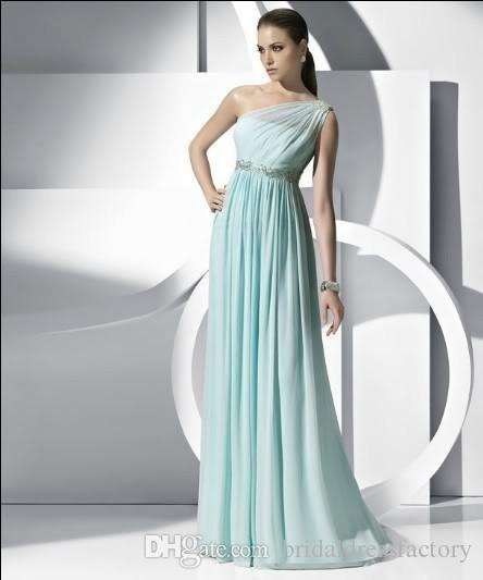 envío gratis 2018 pretina de cristal nuevo elegante verde con un hombro largo vestido de dama de honor nupcial de la boda / graduación del baile de fin de curso
