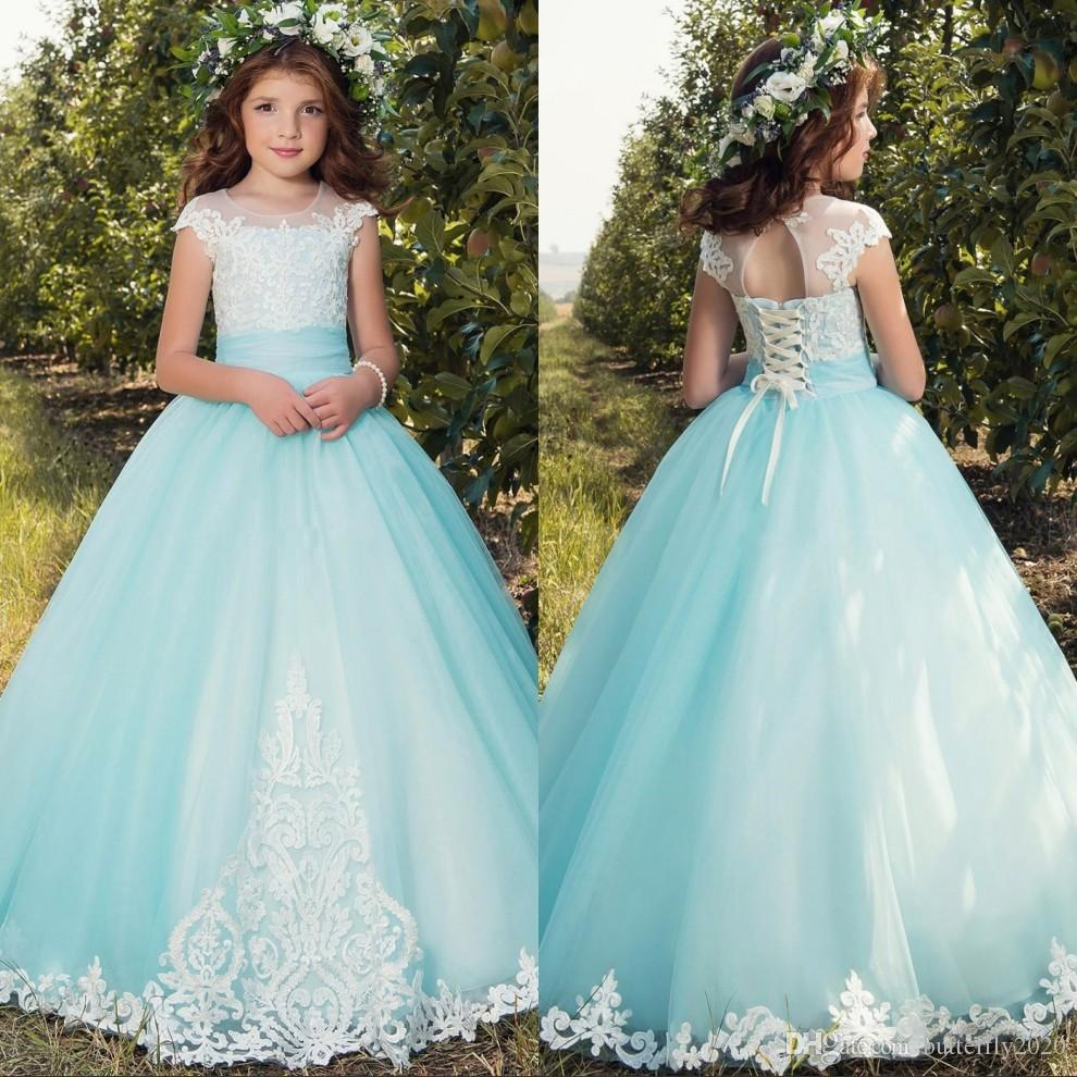 Blue Lace Ball Gowns Flower Girl Dresses For Weddings Cap Sleeves ...
