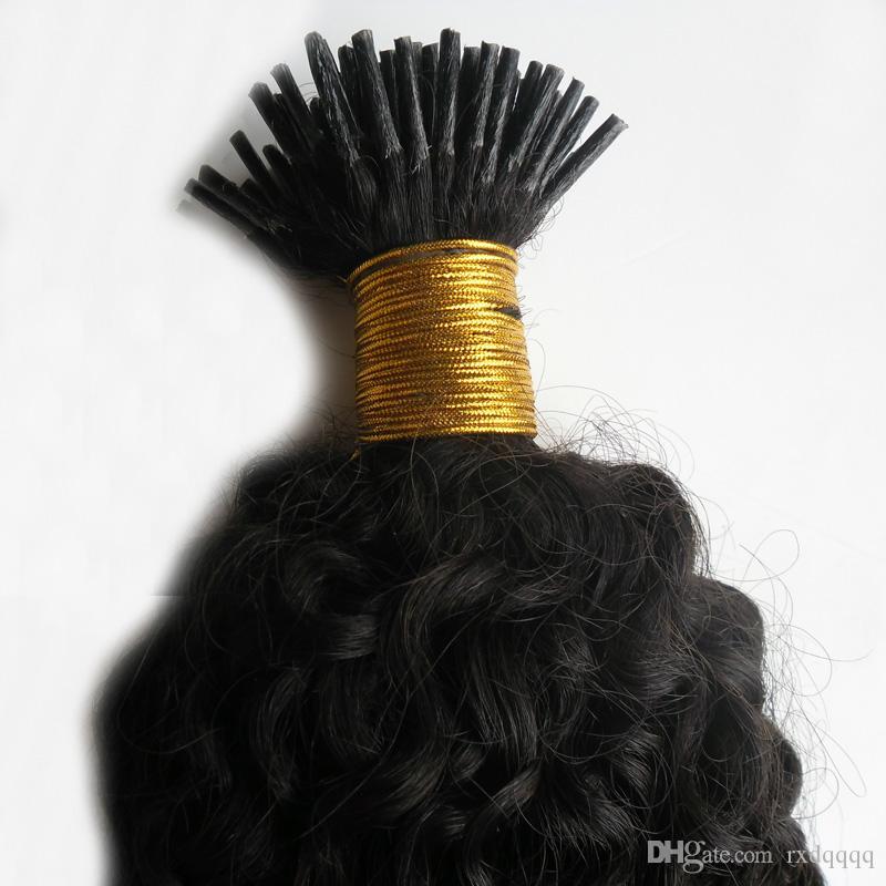Moğol kinky kıvırcık saç Doğal Renk I Tip Saç Uzantıları İnsan saç uzatma keratin 100g
