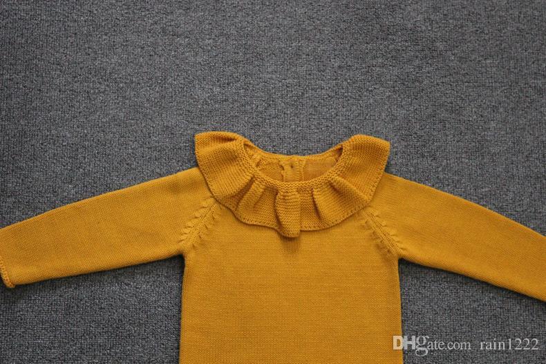 Ins New Spring Otoño Invierno Chica Algodón Pullover Sweaters Toddler Baby Ruffles Neck Punto prendas de vestir Niños Kid Warm Jumper Clothes Solid Sweaters