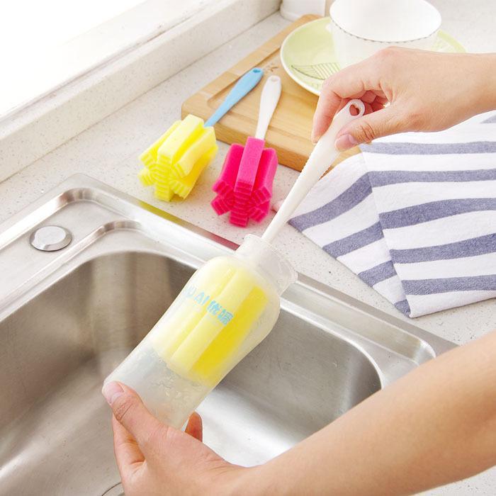 Tut nicht weh, die Hand Schwamm Flasche Becher Tasse Reinigungsbürsten Mehrzweck Dead Angle Gesundheit Langstiel Dekontamination sauber