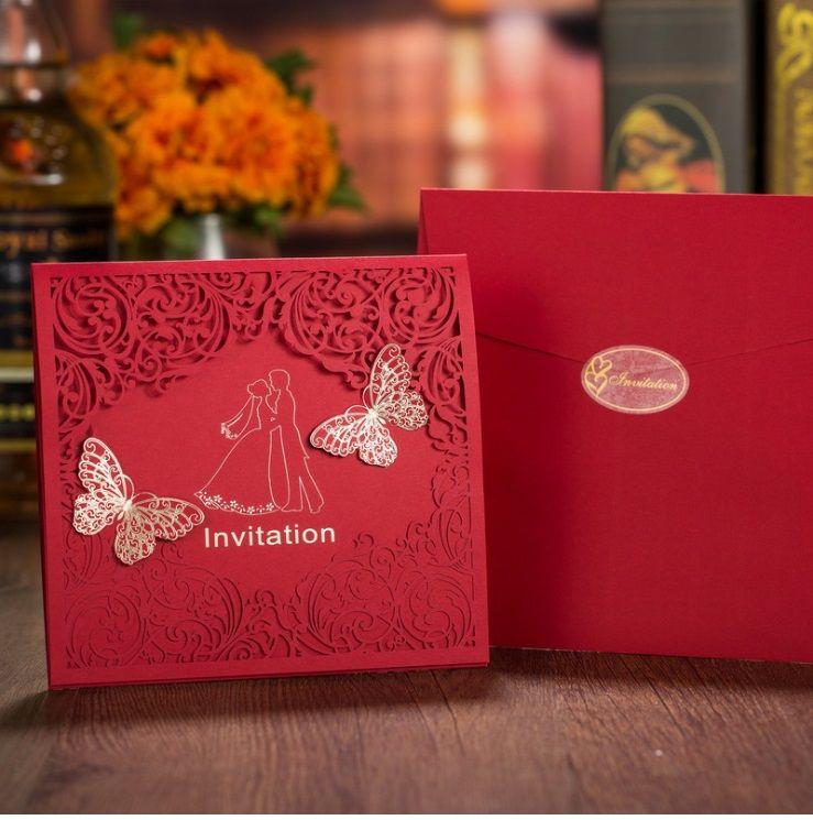 Red color European New designs wedding invitation personalized wedding invitation cards creative wedding invites DHL
