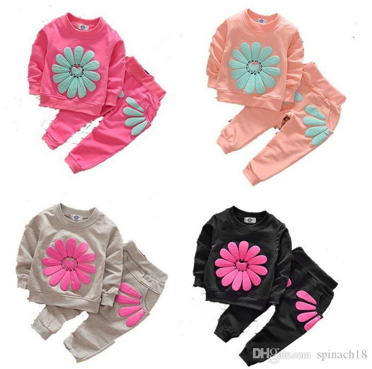 Printemps Automne Filles Survêtement Bébé Enfants Fleurs Tops Sweat + Pantalon Vêtements Costumes Enfants Coton Ensembles Ensembles 5 Couleurs 2231