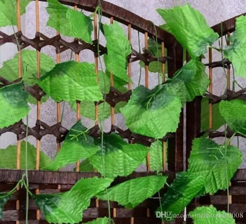 NEW Beautiful Green Grape Leaves Vine Ivy Simulation Plastic Flower Artificial Plants For Wedding Home Decor MYY