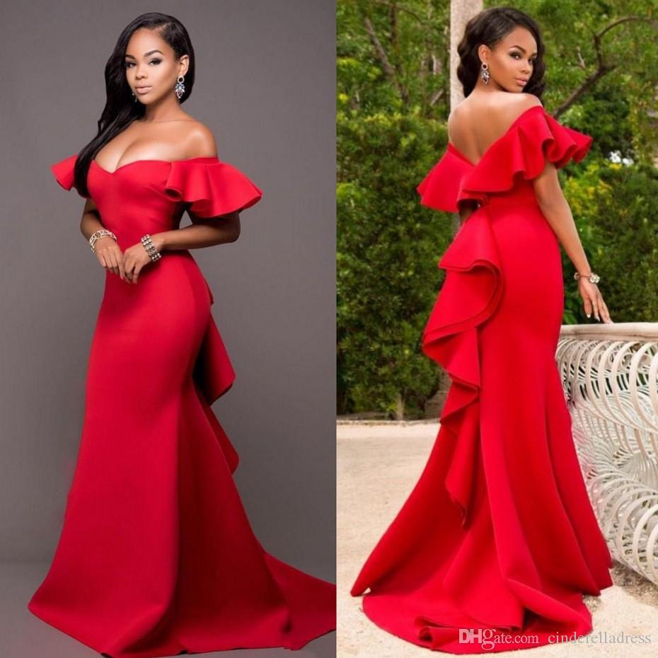 4e69647318b Gorgeous Red Off Shoulder Evening Dresses 2018 Satin Backless Mermaid Prom  Gowns Saudi Arabia Ruched Sweep Train Formal Party Dress Evening Dress  Singapore ...