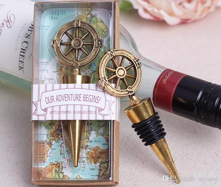 Hot Sell Nautical Theme Compass Wine Stopper Wedding Favors Bridal Shower Ideas Beach Party Bottle Opener