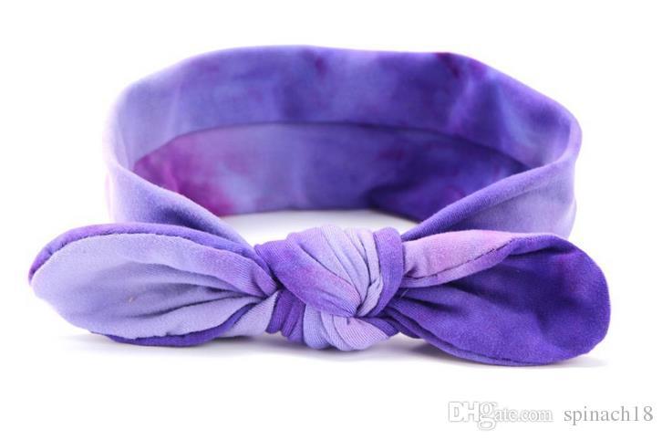 El nuevo algodón infantil superior del bebé venda del nudo lindo niñas Tie-dye Hairband chica Turban Rabbit Ears nudo venda del bebé Accesorios para el cabello