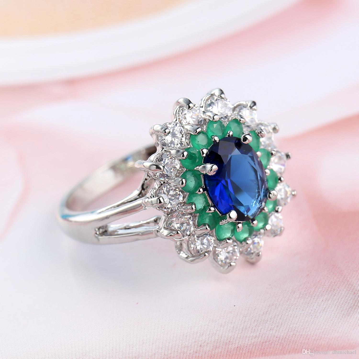Lady's Jewelry Green +Sapphire CZ Gemstone Real Gold Filled Ring Wedding Party Finger Rings Sz6-10 Gift