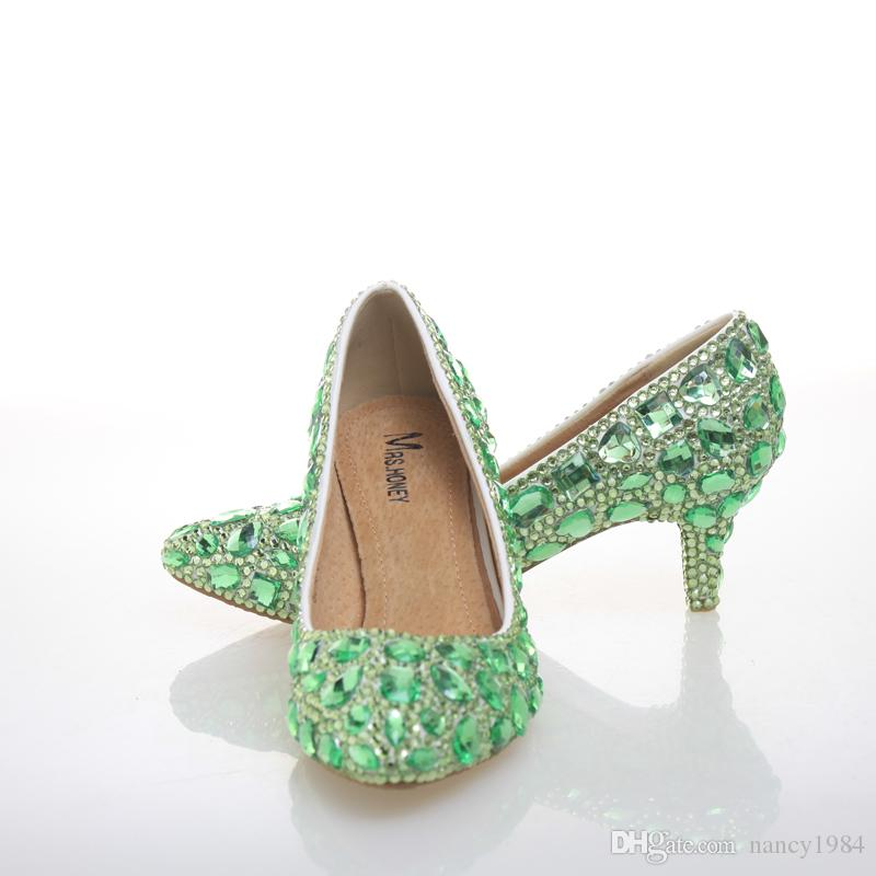 Green Rhinestone Pumps Wedding Party Shoes Middle Heel Pointed Toe Graduation Prom Dancing Shoes Crystal Mother of Bride Shoes