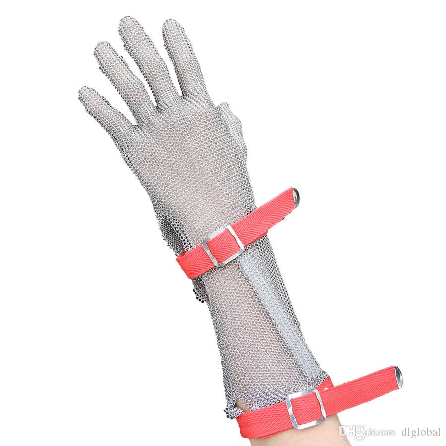 15CM Long Section Nylon Wristband Glove CutResistant Gloves Stainless Steel Mesh Metal Mesh Butcher Anti-cutting Glove Work Safety Glove
