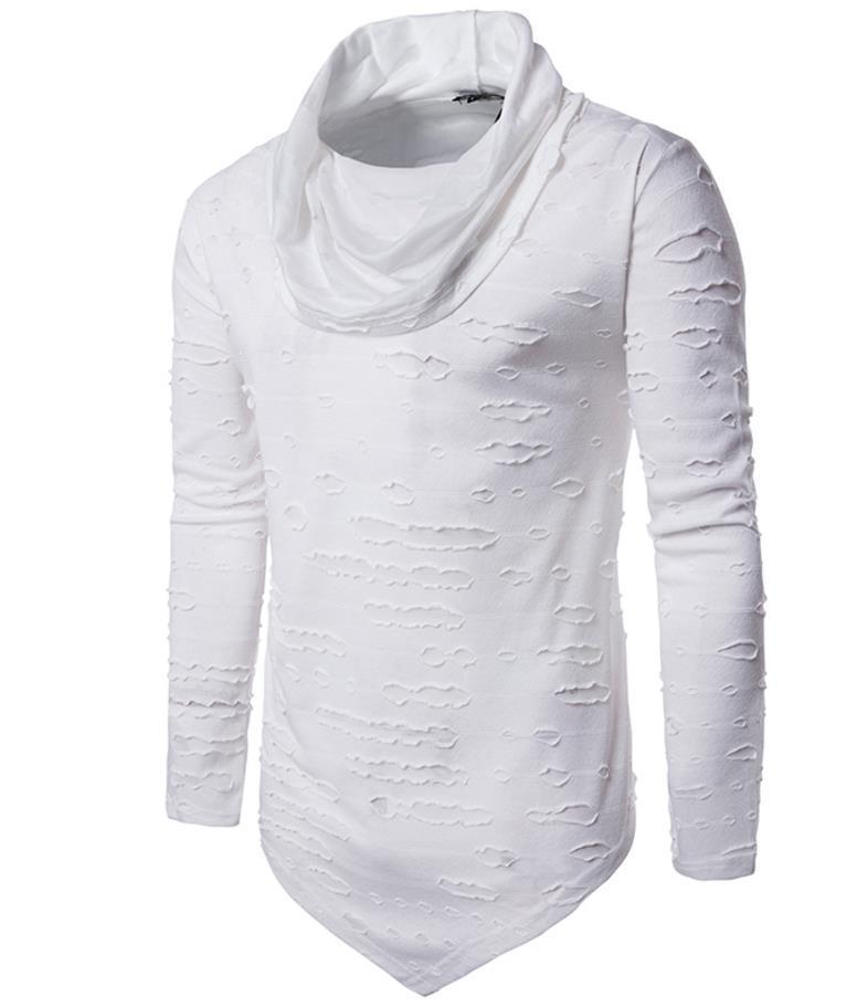 Compre Montones Collar Agujero Camiseta Hombres Largos Diseño Irregularidad  Dobladillo Manga Larga Hombres Camisetas Envío Gratis Hip Pop Sport Camiseta  ... 7bbd9a35ba405