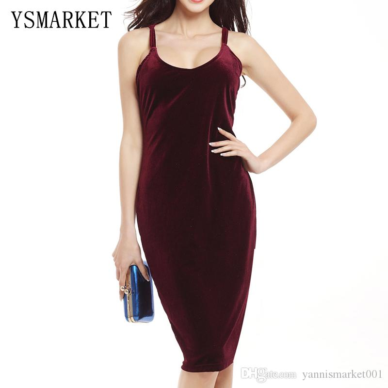 2f30e33dc911 Off Shoulder Velvet Dress Women Red Wine Party Strap Bodycon Pencil Midi  Dress Celebrity Slim Elegant Club Vestido De Festa E768 Floral Dress Online  Short ...