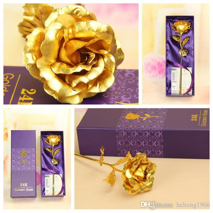 Gold Foil Simulation Rose Naked Flower Household Electroplate Gruaud Larose For Valentine Gift Colorful Artificial Flowers Hot Sale 2jp R