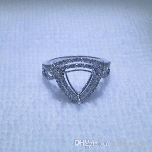 Jewelry Trillion Cut 8x8mm Solid 14k White Gold Engagement Semi Mount Diamond Very Nice RingR0139