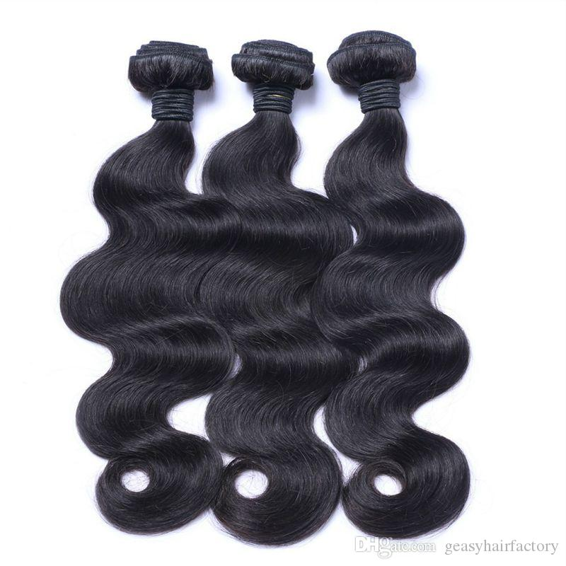 Peruvian Body Wave Human Hair Bundles With Silk Base Frontal Closure Natural Black Can Be Dyed LaurieJ Hair