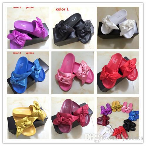 sports shoes 05888 3e207 Fenty Rihanna Bandana Slide,Fenty Slides Women Slippers Fenty Bow Slide  Slipper On Sale,Send With Box