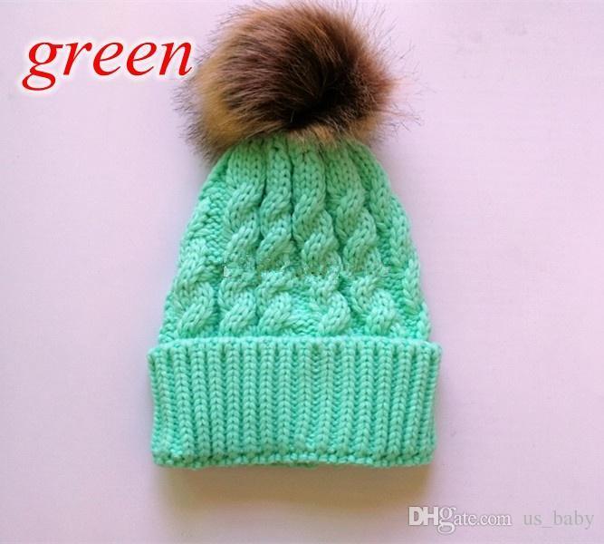 INS Bebek Kış Şapka Yenidoğan Kızlar Sevimli Kürk Topu Kapaklar Çocuklar Kış Boys Beanies için Örme Yün Şapka katı renk
