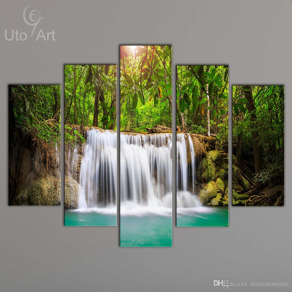 Waterfall Wall Art 2017 wholesale cheap canvas art print waterfall modular pictures