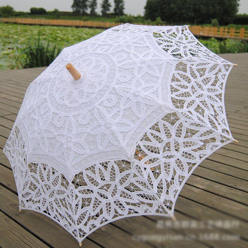 2018 cotton battenburg lace bridal parasol handmade embroidery white