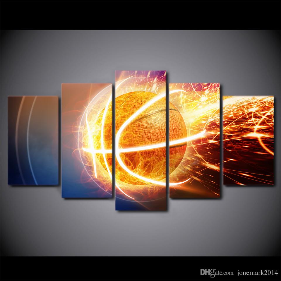 Framed HD Printed Fire Basketball Still Life Canvas Artwork Modern Painting Poster Picture For Home Decor Wall Art