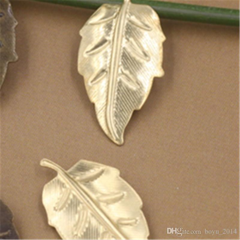200 Stücke 2 Farben 11x22 MM Leaf Charms Europäischen Stil Großhandel Messing Material Vintage DIY Schmuck Anhänger Charme