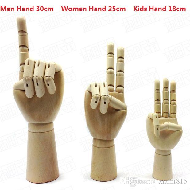 Hand Made Wooden Hands Model Art Painting Tools Puppet Hand of Men Women Kids 3 Sizes Novelty Gifts