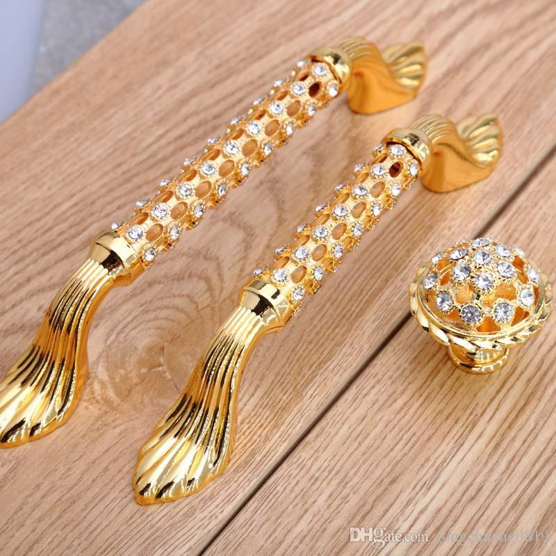 96mm 128mm 24K Gold Rhinestone Win Cabinet Dresser Door Handle Glass ...