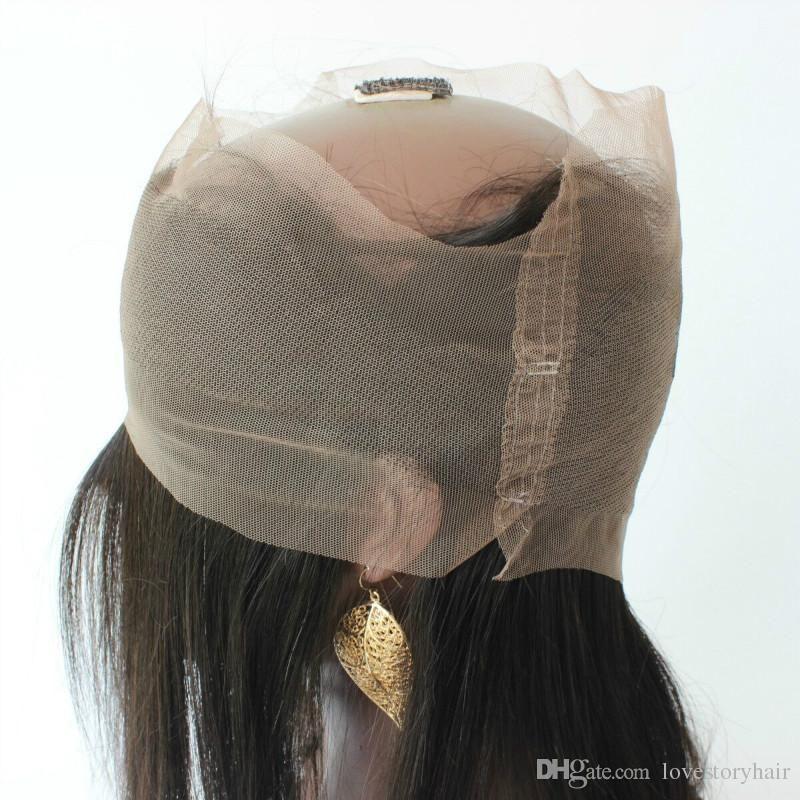 Melhor qualidade 360 Frontal Do Laço Com Feixes de cabelo em linha reta Brasileiro Indiano Peruano Malaio Virgem Do Cabelo Humano Tece Encerramento Preto Natural