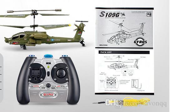 2017 SYMA S109G Mini 3.5CH RC Helicopter AH-64 Apache Helicopter Gunships Simulation Indoor Radio Remote Control Toys for Gift b667