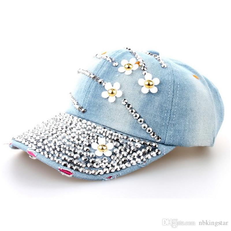 New Fashion Women Denim Berretto da baseball con strass lavato con Jeans floreali Simulazione Diamond Caps Snapback Cappelli Cappelli Hip Hop