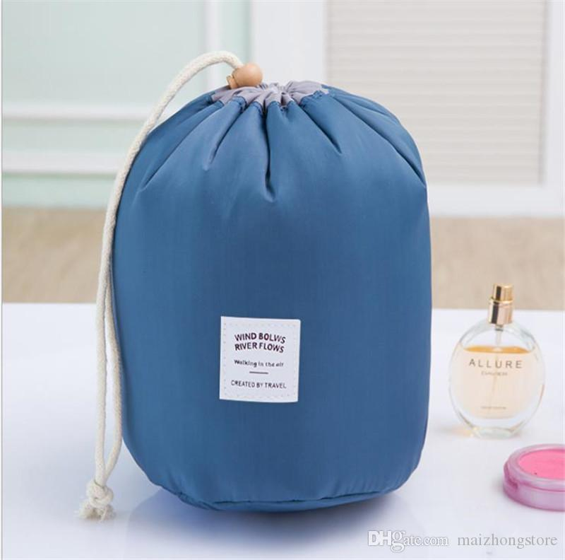 2017 Hot selling Make up bag Barrel Shaped Nylon travel wash bags storage bags waterproof material cosmetic bags big capacity