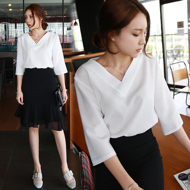 Venda quente primavera verão coreano casual com decote em v solto chiffon blusas das mulheres camisa plus size branco rosa senhoras blusa tops blusas