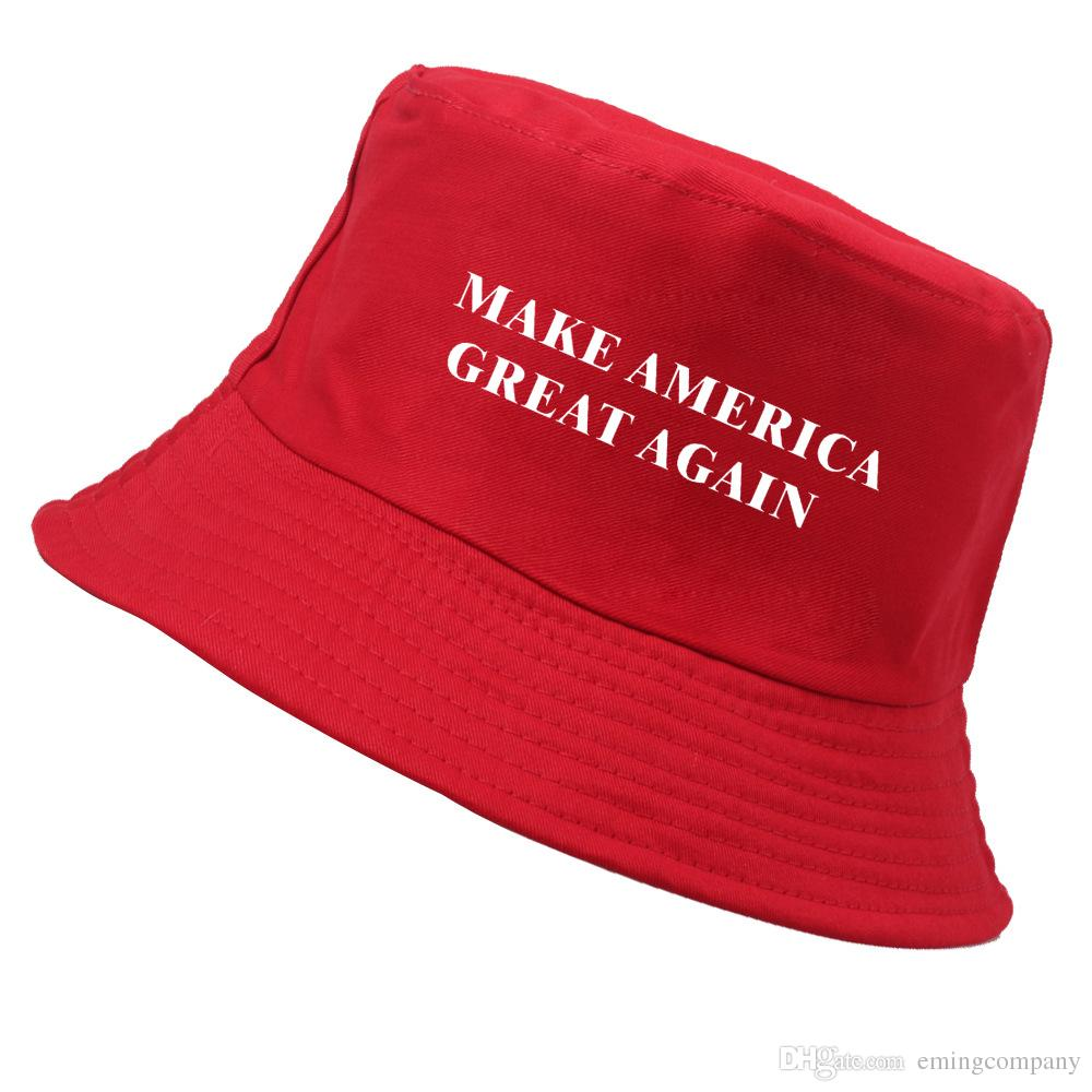 872e8387ee6b2 2019 Designer Make America Great Again Letter Cotton Foldable Beach Bucket  Hats Packable Fishing Hats For Adults Mens Women Solid Color Sun Visor From  ...