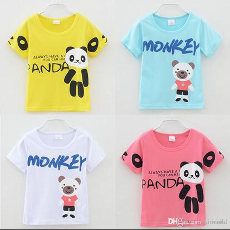 8eed2a28e51c 2019 Baby T Shirt Boys Girls Panda Monkey Cartoon Clothing T Shirts Kids  Short Sleeve Tops Kids Clothing Baby Clothes With High Quality From  Kidchild, ...