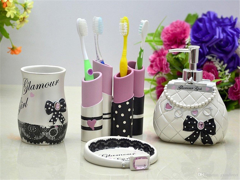 Acquista 5 Pezzi Glamour Girl Set Accessori Bagno Completo ...