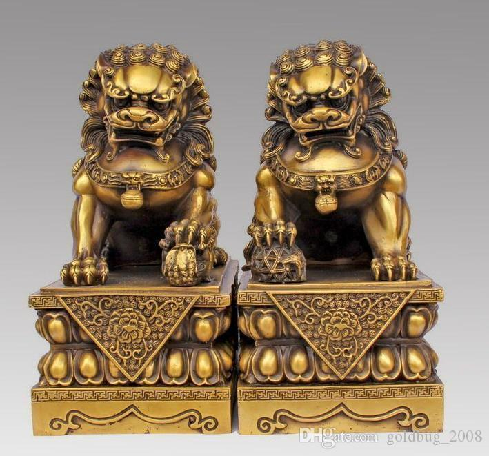Große Paar Bronze Chinese Lion Foo Hund Statue Figur Skulptur Schwarz yellow10