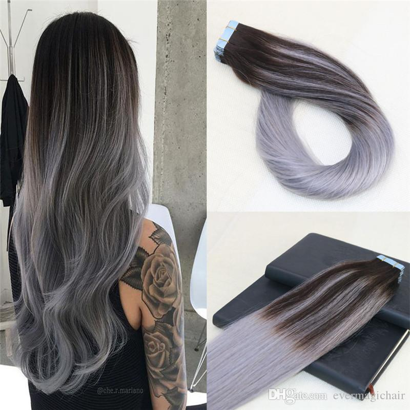 100 Unprocessed Tape In Human Hair Extensions Omber Sliver Grey