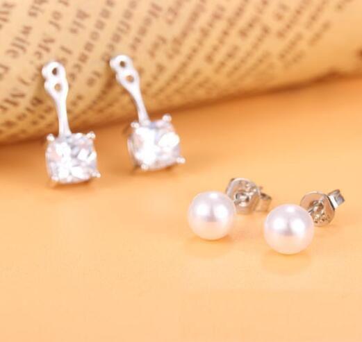 Fashion 925 silver plated Zircon Crystal Earring beads Stud earrings For Women Jewelry Simulated pearl earrings
