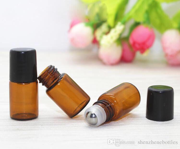 venta caliente 1ML 2ML 3 ml 5 ml 10 ml Rollo de cristal en la botella con el rodillo de acero inoxidable Pequeña botella de aceite esencial Los más vendidos en EE.UU.
