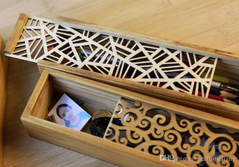 Vintage Style Convenient Hollow Wood Pencil Case Jewelry Storage Box Wooden Organizer Drawer Pen Holder School Gift ZA1745