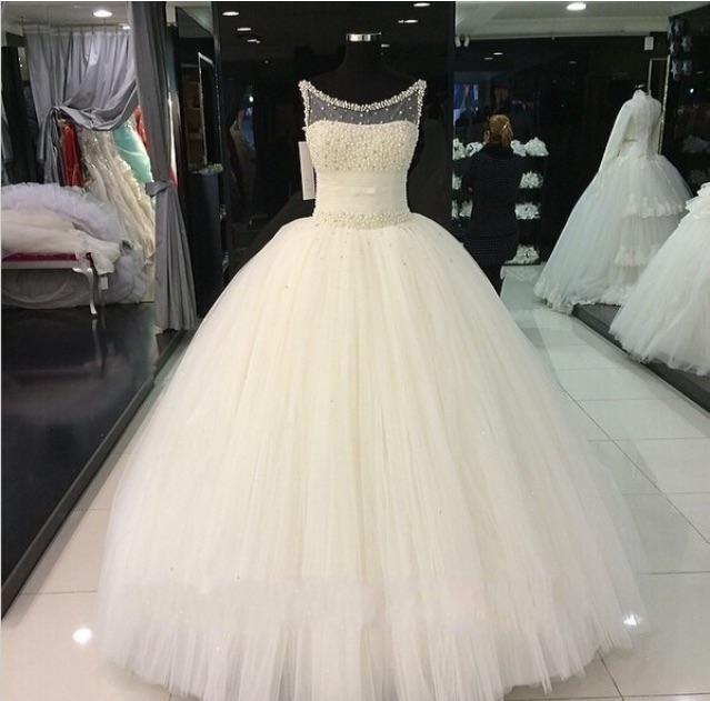 2017 Vestidos De Novia Prinzessin Hochzeit Ballkleider Sheer Neck Schwere Perlen Boden Lange Maß Echt Bild Arabisch Braut Brautkleider