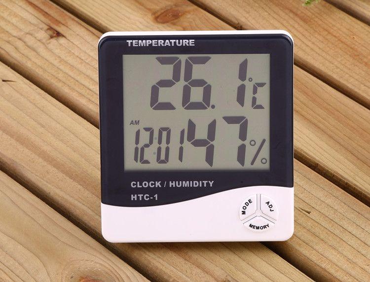 White Digital Thermometer Hygrometer Clock Temperature Humidity Meter Calendar Maximum Minimum Value Display c481