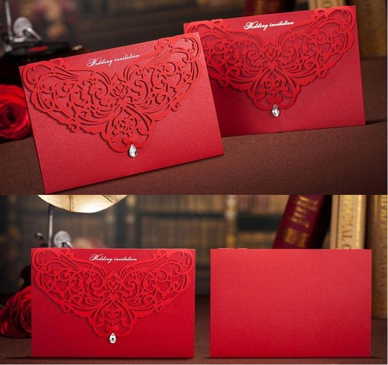Hot Wholesale Personalized Wedding Invitation Cards Red white wed cards modern designs card DHL in good price