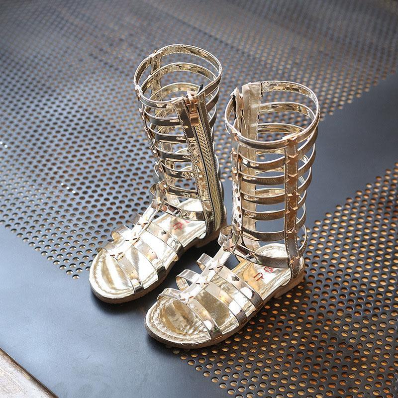 Nouveau Desig Enfants Roma Gladiator Sandales Enfants Fille Chaussures D'été Bottes Hautes Sandales Sliver Or Noir Chaussures Taille 26-35 Choisissez Tailles