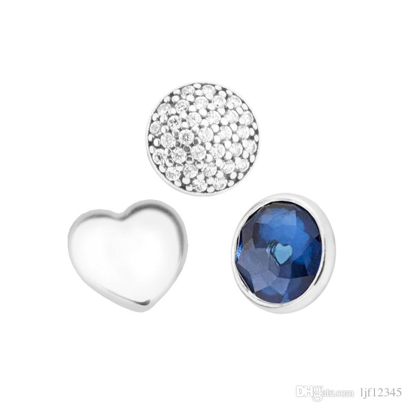 Settembre Petites Sintetico Sapphire Clear CZ Charm collana Locket Charms Adatto gioielli in argento sterling Pandora Bracciale che creano ciondoli