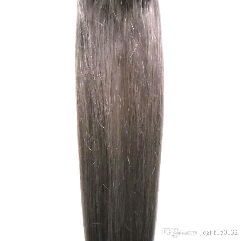 Silver grey brazilian micro ring loop hair extensions 100g micro link human hair extensions Straight micro bead hair extensions 100s