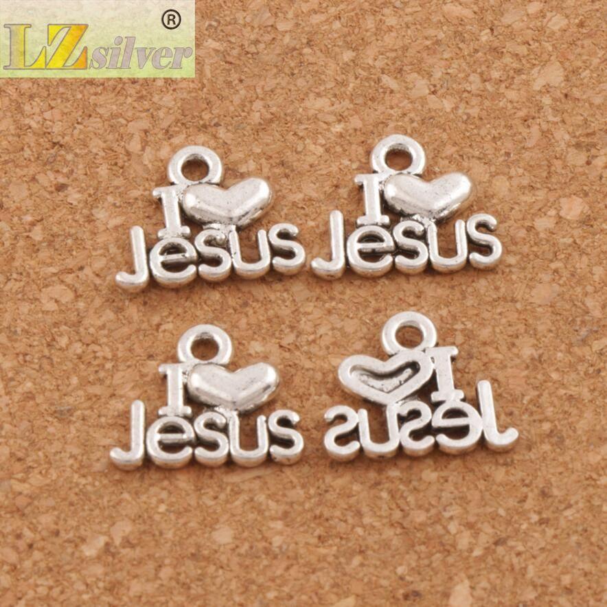 I Love Jesus Charm Beads Hangers 200 stks / partij Antiek Zilver 15.7x12.8mm Sieraden DIY Sieraden Bevindingen Componenten Fit Armbanden Ketting